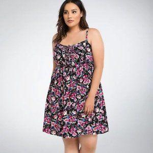 Torrid Floral Lace Up Sundress Size 1X
